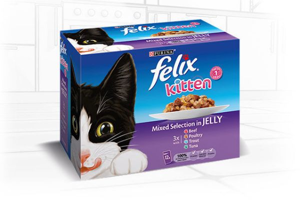 Picture of Felix Kitten Pouch Box Beef / Poultry / Trout / Tuna 12x100g