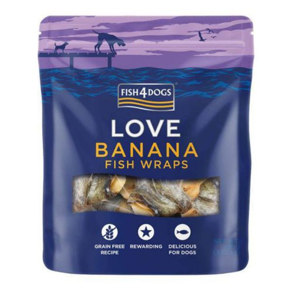 Picture of Fish 4 Dogs Dog - Banana Fish Wraps 100g