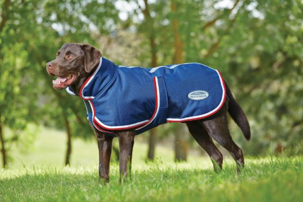 Picture of Weatherbeeta Deluxe Parka 1200D Dog Coat Navy/Red/White
