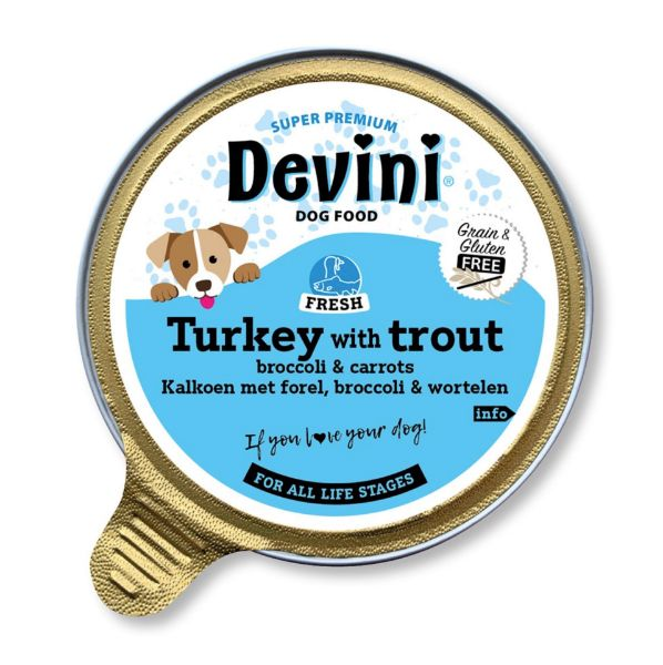 Picture of Devini Dog Food Turkey & Trout 12x85g